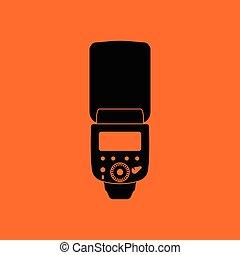 Icon of portable photo flash. Orange background with black. ...
