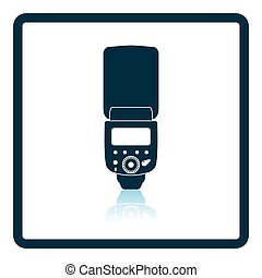 Icon of portable photo flash. Shadow reflection design. ...