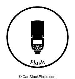 Icon of portable photo flash. Thin circle design. Vector ...