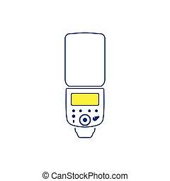Icon of portable photo flash. Thin line design. Vector ...
