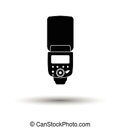 Icon of portable photo flash. White background with shadow ...