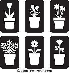 Icon of pot plants set