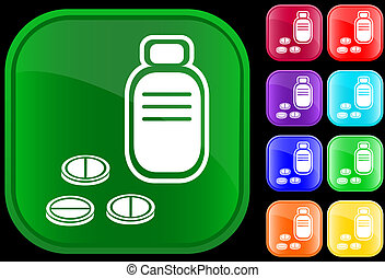 Icon of prescription bottle and pills on shiny buttons