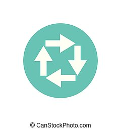 icon of process arrows in color circle