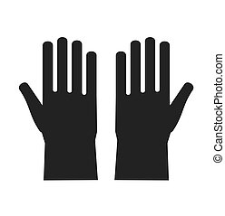 Icon of protective rubber gloves. Stock flat vector...