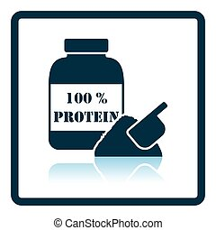 Icon of Protein conteiner. Shadow reflection design. Vector...