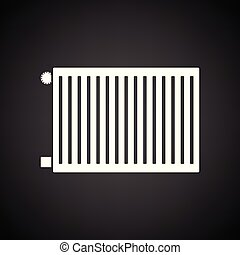 Icon of Radiator. Black background with white. Vector...