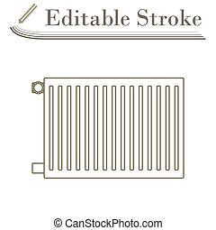 Icon Of Radiator. Editable Stroke Simple Design. Vector ...