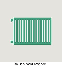 Icon of Radiator. Gray background with green. Vector...