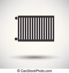 Icon of Radiator on gray background, round shadow. Vector...