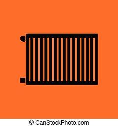 Icon of Radiator. Orange background with black. Vector...