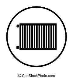 Icon of Radiator. Thin circle design. Vector illustration.