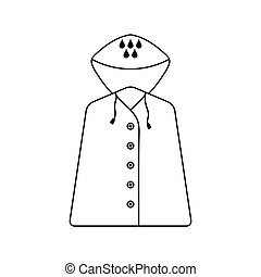 Raincoat Icon Black Background With White Vector Illustration