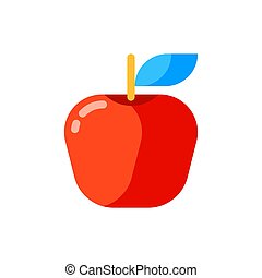 Icon of red apple in flat style.