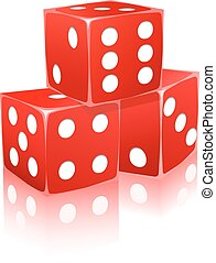 red dice with white dots in ctack