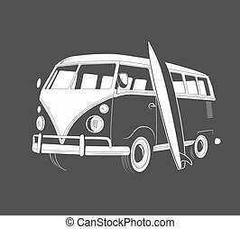 Icon of retro travel bus with surfboard. Side view. Vector...