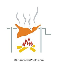 Icon Of Roasting Meat On Fire. Flat Color Design. Vector Illustration.