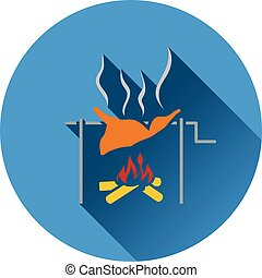Icon of roasting meat on fire. Flat design. Vector illustration.