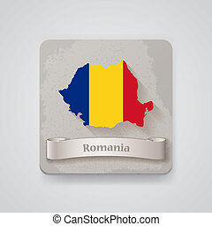 Icon of Romania map with flag. Vector illustration