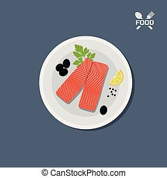 Icon of salmon fillet on a plate. Top view. Restaurant dish. Seafood. Pieces of red fish