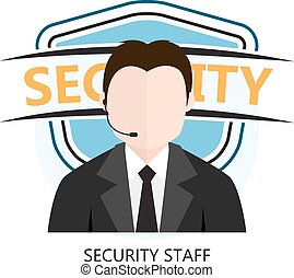 Icon of Security Staff Isolated on White Background