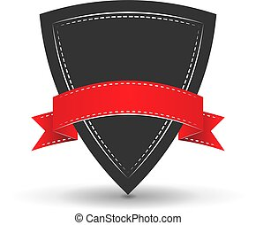 icon of shield with red vector ribbon on a white background