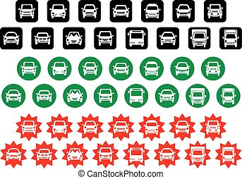 icon of simple car - various shapes and colors -