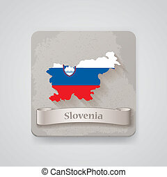 Icon of Slovenia map with flag. Vector illustration