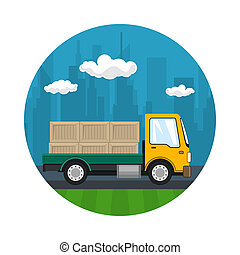Icon of Small Cargo Truck with Boxes
