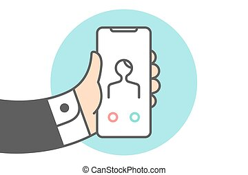Icon of Smartphone with Incoming call