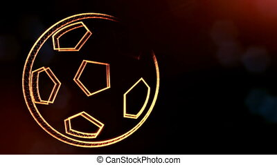 icon of soccer ball. Background made of glow particles as...
