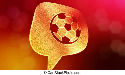 icon of soccer ball in message cloud. Background made of glow particles as vitrtual hologram. 3D seamless animation with depth of field, bokeh and copy space. Red color V1.