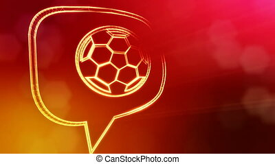 icon of soccer ball in message cloud. Background made of...
