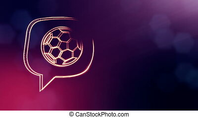 icon of soccer ball in message cloud. Background made of glow particles as vitrtual hologram. 3D seamless animation with depth of field, bokeh and copy space. Purple color v1