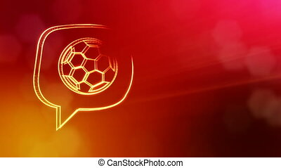 icon of soccer ball in message cloud. Background made of glow particles as vitrtual hologram. 3D seamless animation with depth of field, bokeh and copy space. Red color v2