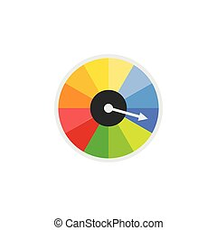Icon of speedometer or speed dial, power indicator vector ...