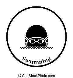 Icon of Swimming man head with goggles and cap . Thin circle...