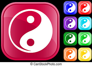 Icon of Tao faith, Yin Yang, on shiny square buttons