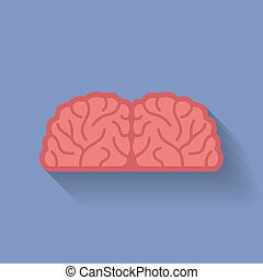 Icon of the brain. Flat style