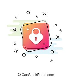 icon of the closed lock in the form of a heart. Purple square button. Flat design