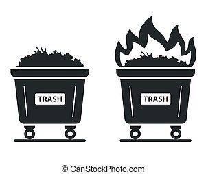 icon of the container in which the trash burns. set fire to waste.