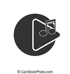 Icon of the player or player button to play a melody. Simple design for the website and app logo
