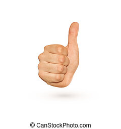 Icon of thumb up sign isolated on whiteitive hand.