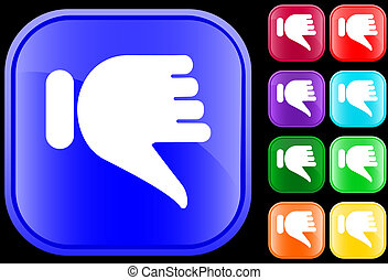 Thumbs down icon on shiny square buttons