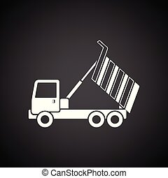 Icon of tipper. Black background with white. Vector ...