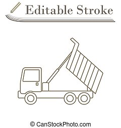 Icon Of Tipper. Editable Stroke Simple Design. Vector ...