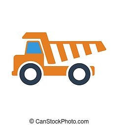Icon Of Tipper. Outline With Color Fill Design. Vector ...