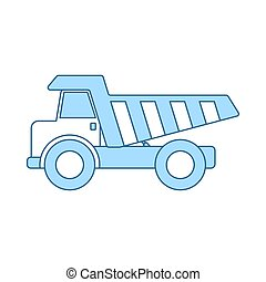 Icon Of Tipper. Thin Line With Blue Fill Design. Vector ...