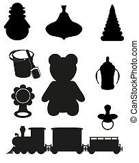 icon of toys and accessories for babies and children black...