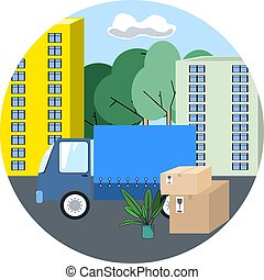 Icon of transportation truck on background of the city vector illustration